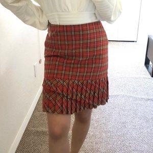 Lost Fall Plaid Pleated Wool Mini Skirt 2
